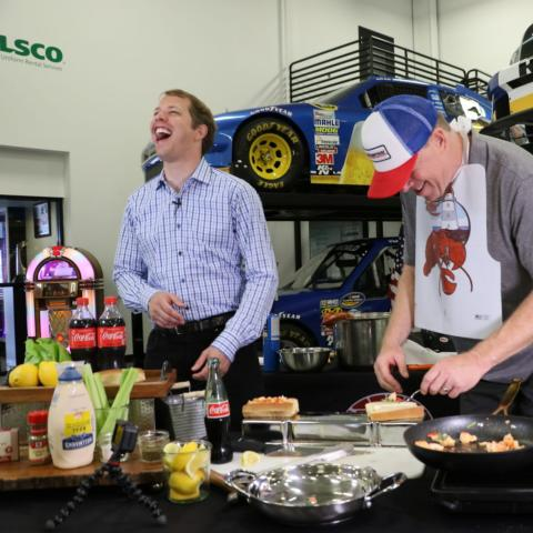 New England's Comedian Jimmy Dunn (right) visited NASCAR Cup Series driver Brad Keselowski (left) earlier this week to preview next weekend's Foxwoods Resort Casino 301 and have a little fun teaching the defending race winner how to prepare the perfect lobster roll.