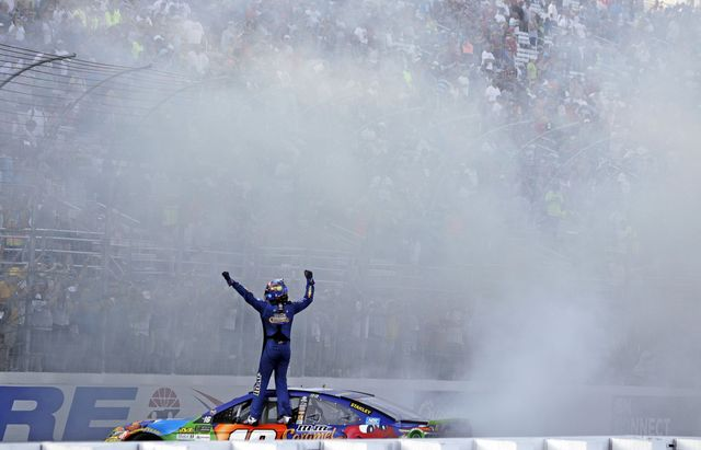 Kyle Busch does a burnout after winning Sunday's ISM Connect 300 Monster Energy NASCAR Cup Series race.