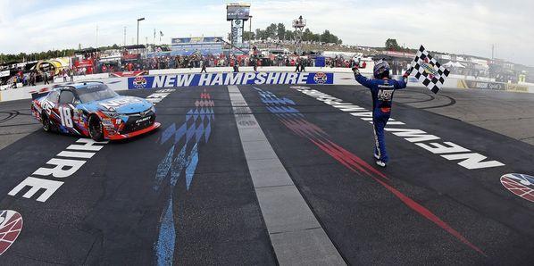 Kyle Busch celebrates his win in Saturday's AutoLotto 200 XFINITY Series race at New Hampshire Motor Speedway.