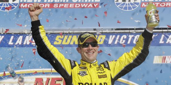 Matt Kenseth celebrates his victory in Sunday's New Hampshire 301, his second straight NASCAR Sprint Cup Series win at New Hampshire Motor Speedway.