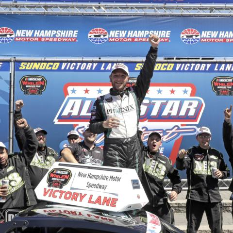 Justin Bonsignore celebrating in victory lane at New Hampshire Motor Speedway after winning the All Star Shootout on July 20, 2018.