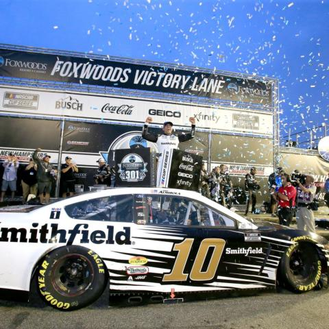 Aric Almirola celebrates not only winning New Hampshire Motor Speedway's 50th NASCAR Cup Series race, the Foxwoods Resort Casino 301, but also his first win of the 2021 season, which locked him in to the playoffs on Sunday.