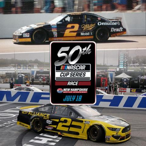 Rusty Wallace (top) won the first NASCAR Cup Series race at New Hampshire Motor Speedway on July 11, 1993, and Brad Keselowski (bottom) won the 49th NCS race at NHMS on Aug. 2, 2020. This year's Foxwoods Resort Casino 301 on July 18 will mark the 50th NCS race at NHMS.
