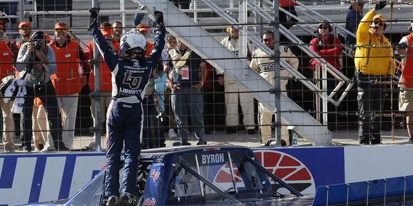 William Byron dominated Saturday's UNOH 175, the inaugural race in the Camping World Truck Series Chase at New Hampshire Motor Speedway.