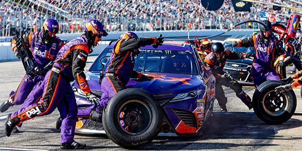 Denny Hamlin during a pit stop in July 2017's Overton's 301 at NHMS