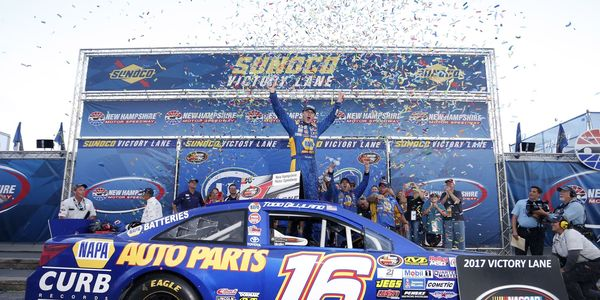 Todd Gilliland celebrates his first NHMS win in Saturday's United Site Services K&N Pro Series East race.