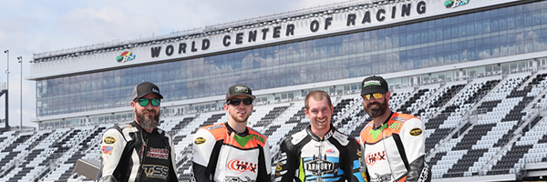 Four of the five Loudon Road Race Series riders who competed in the Daytona 200 on March 16. From left to right: Christopher Dove, Tyler Wasserbauer, Alexander Guilbeault and R. Scott Briody. Not pictured: Daniel Weems.