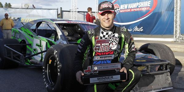 Justin Bonsignore picked up his first career win at New Hampshire Motor Speedway  in Saturday's NASCAR Whelen Modified Tour UNOH 175.