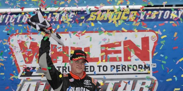 Ryan Preece celebrates his first win in New Hampshire Motor  Speedway's Sunoco Victory Lane on Saturday.