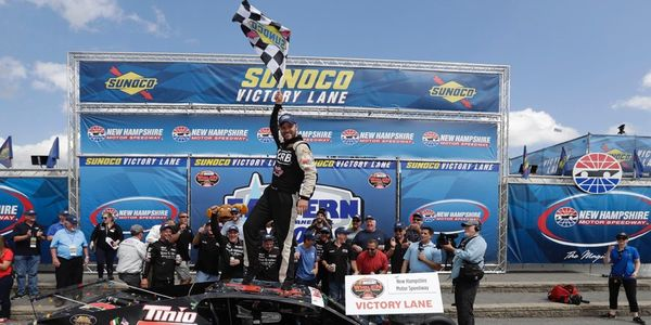 Bobby Santos celebrates his win in Saturday's Eastern Propane & Oil 100 Whelen Modified Tour race.