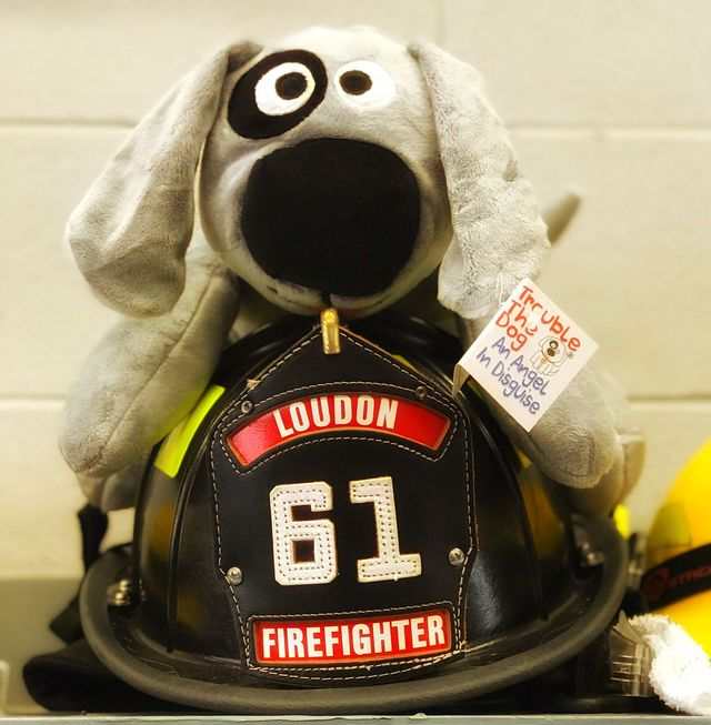 Trouble the Dog sits on a helmet at the Loudon Fire Department.