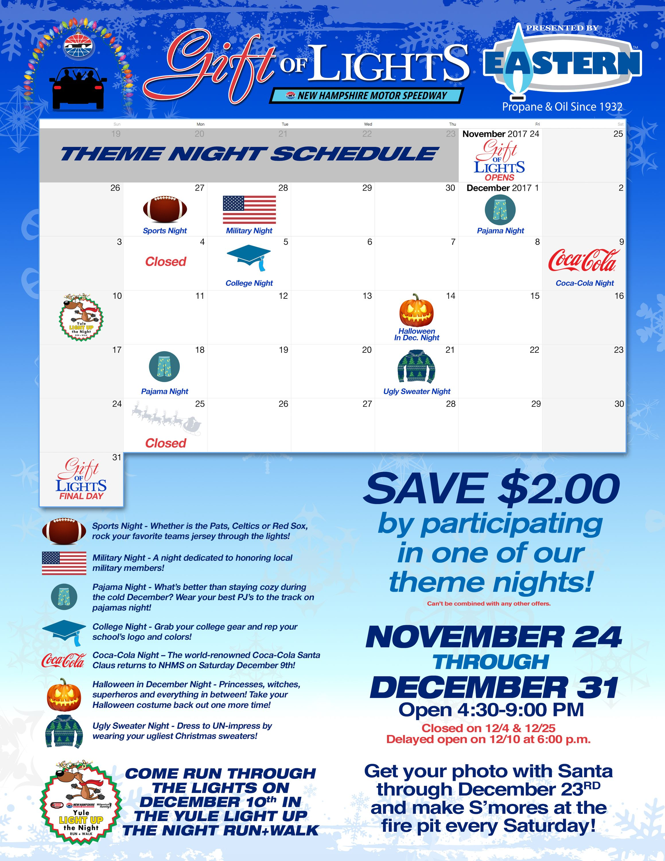 Gift of Lights theme night schedule